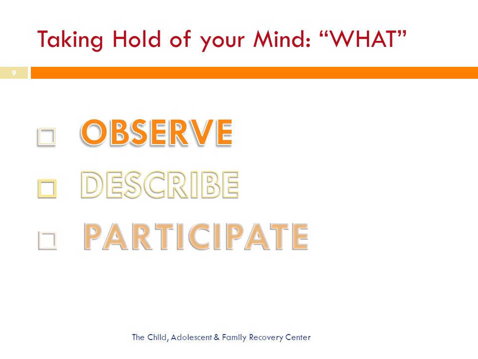 Taking Hold of your Mind: WHAT