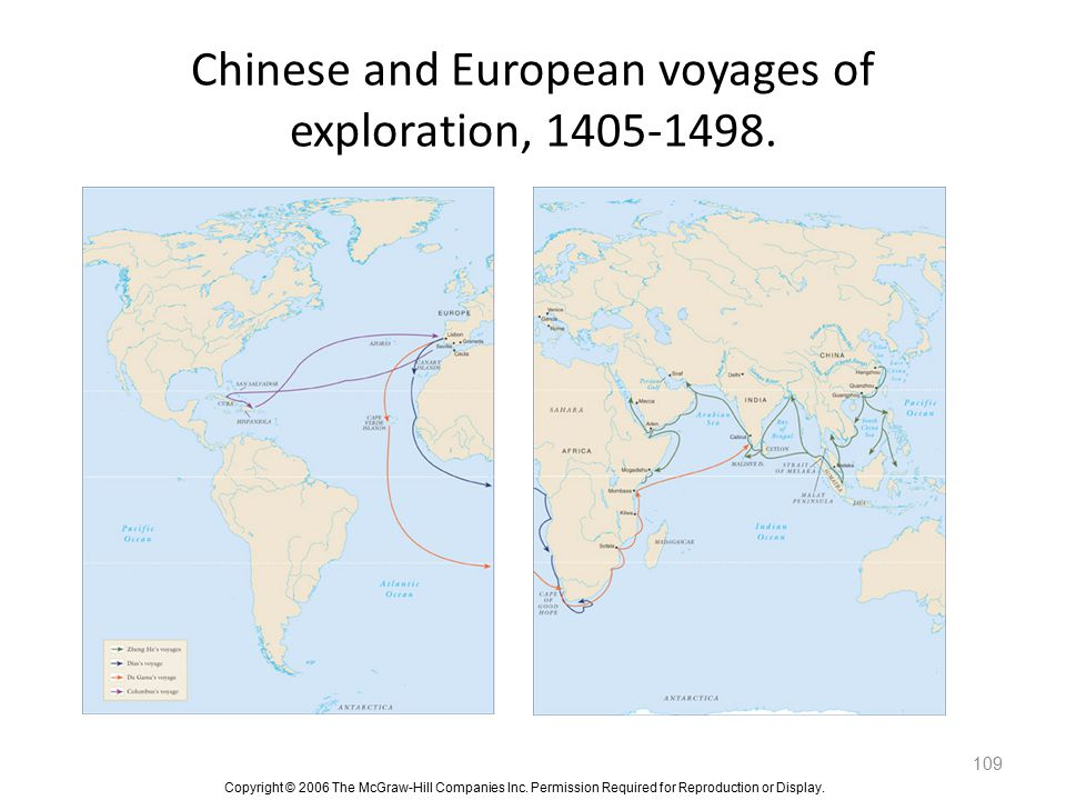 Chinese and European voyages of exploration, 1405-1498.
