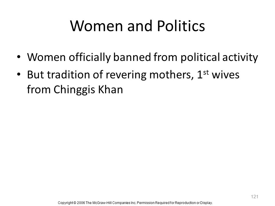 Women and Politics Women officially banned from political activity