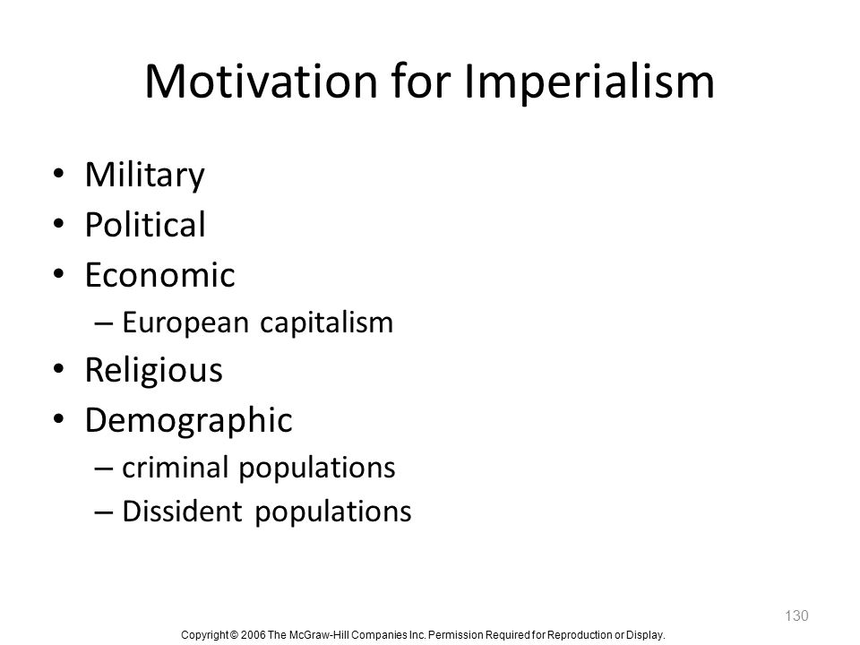 Motivation for Imperialism