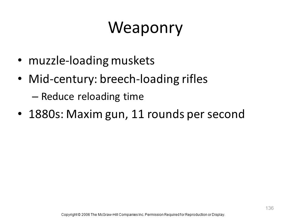 Weaponry muzzle-loading muskets Mid-century: breech-loading rifles