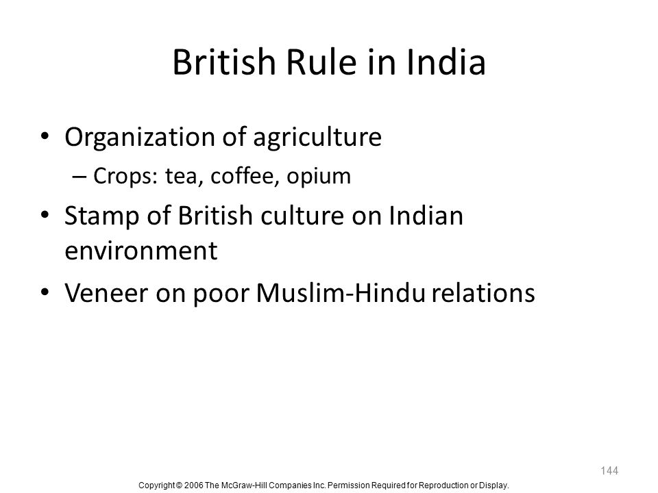 British Rule in India Organization of agriculture
