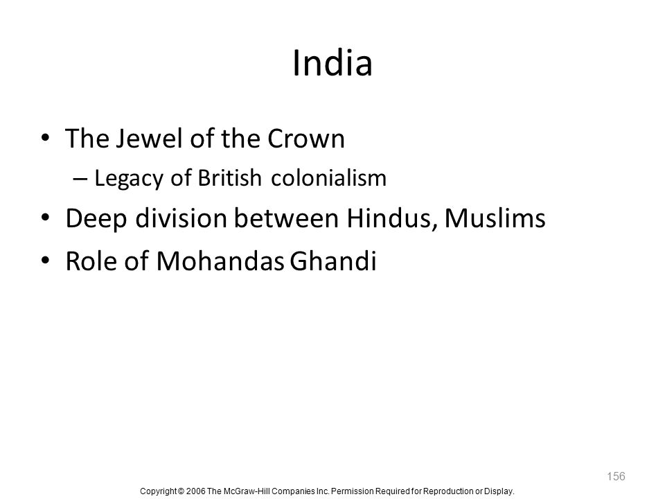 India The Jewel of the Crown Deep division between Hindus, Muslims