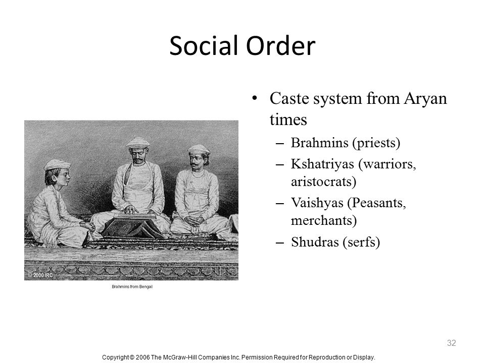 Social Order Caste system from Aryan times Brahmins (priests)