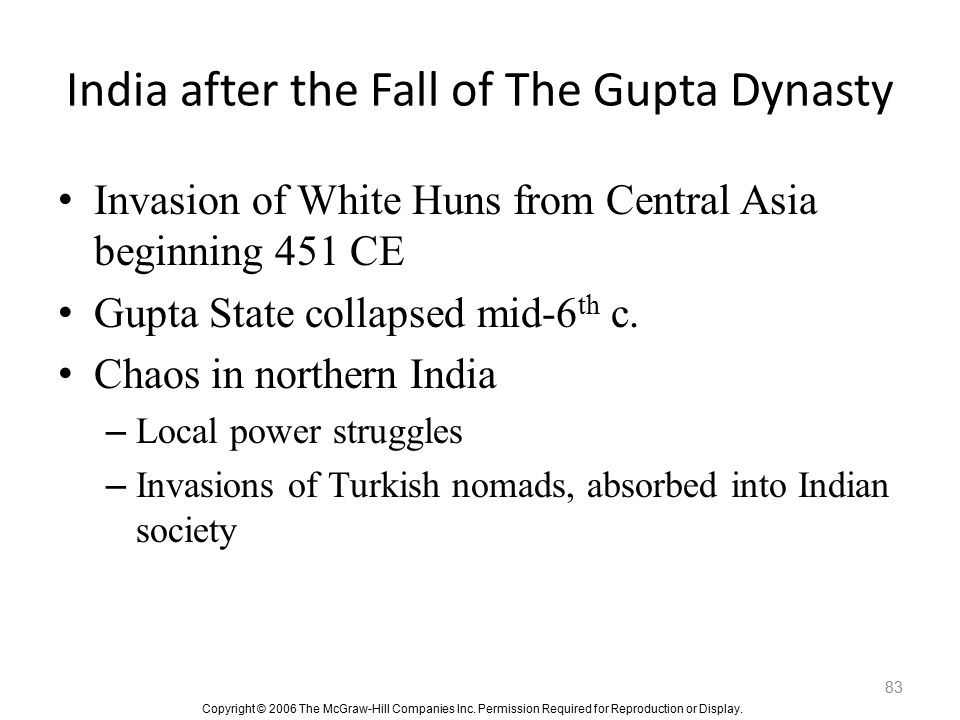 India after the Fall of The Gupta Dynasty