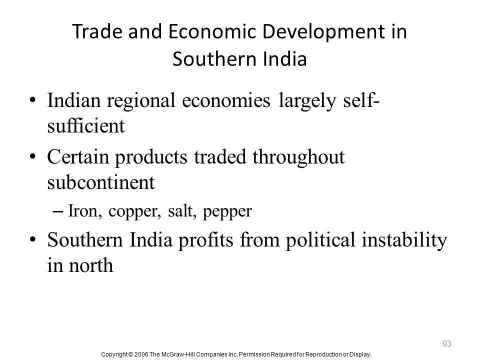 Trade and Economic Development in Southern India