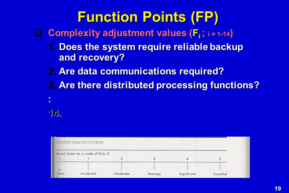 Function Points (FP) Complexity adjustment values (Fi ; i = 1-14)