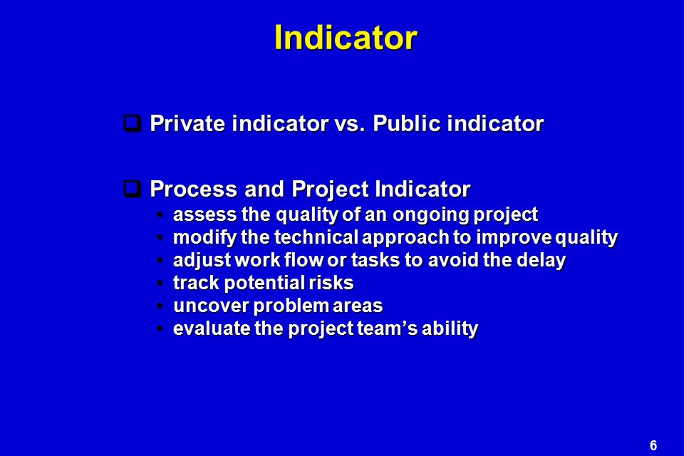 Indicator Private indicator vs. Public indicator