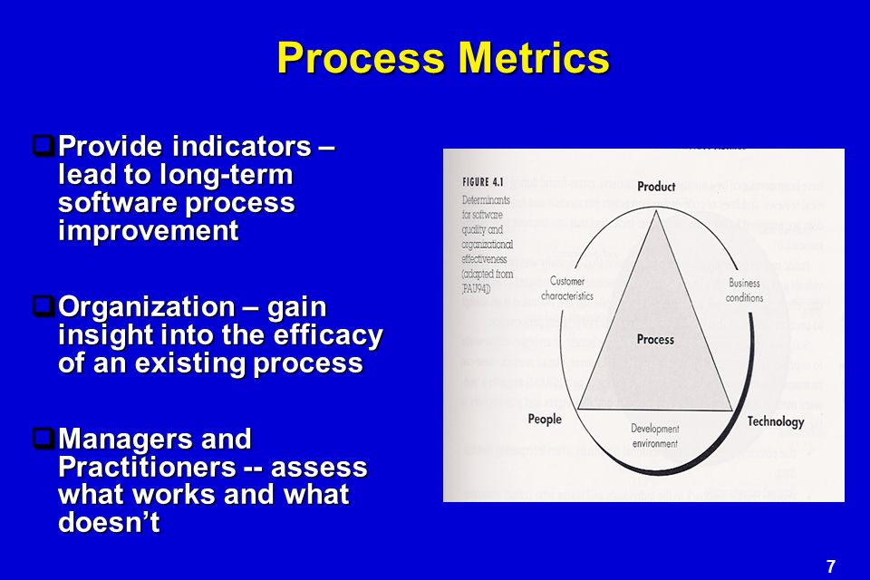 Process Metrics Provide indicators – lead to long-term software process improvement.
