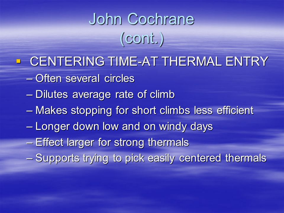 CENTERING TIME-AT THERMAL ENTRY