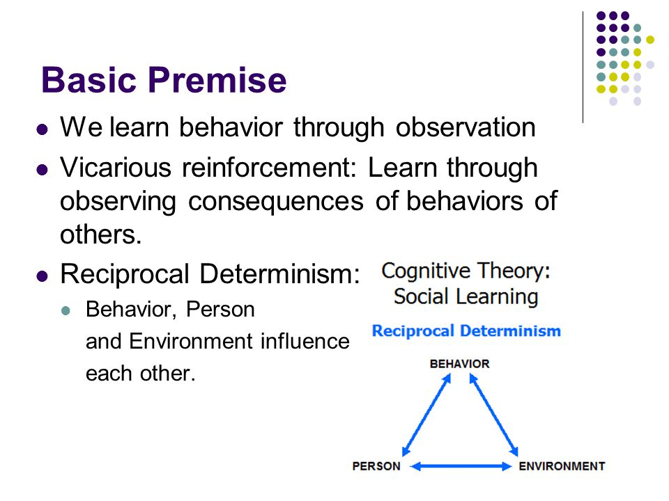 Basic Premise We learn behavior through observation