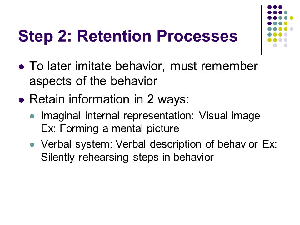 Step 2: Retention Processes