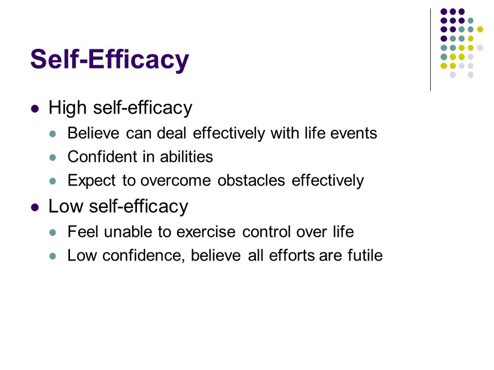 Self-Efficacy High self-efficacy Low self-efficacy