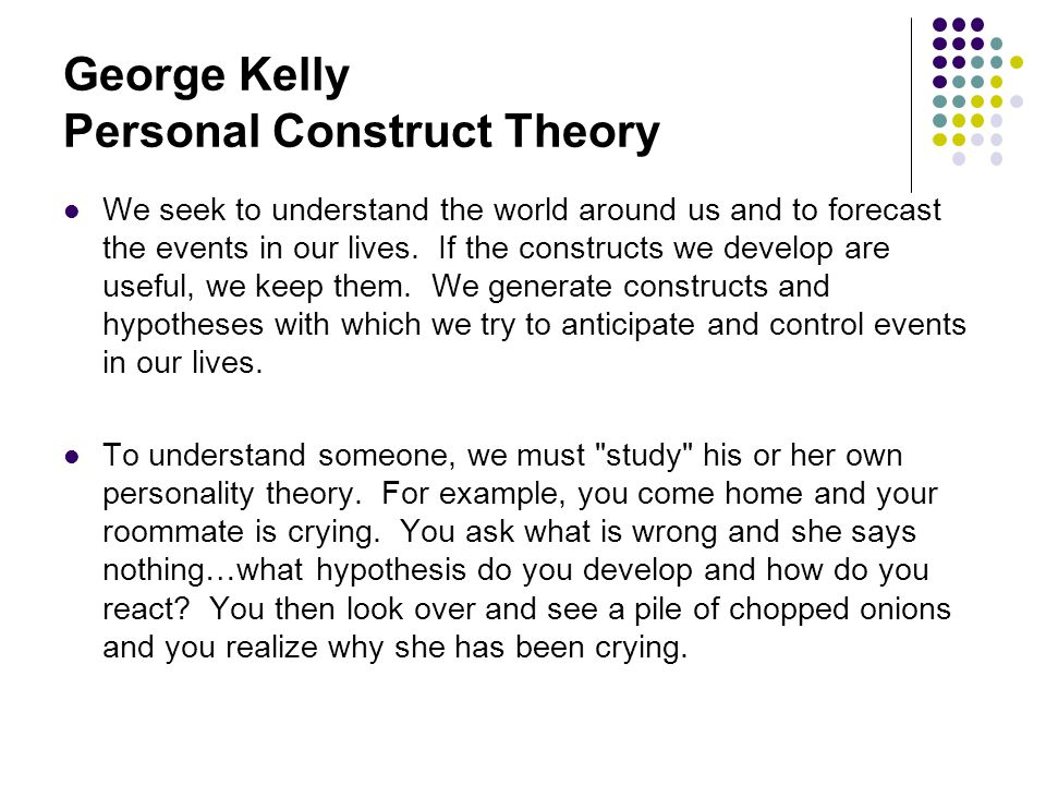 George kelly personal constructs theory