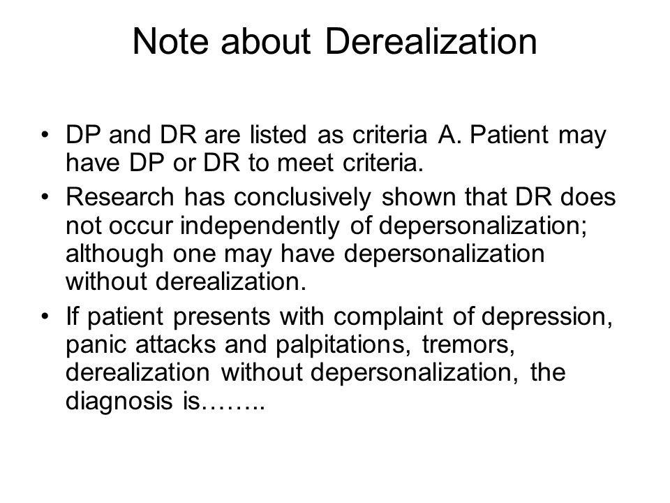 Note about Derealization
