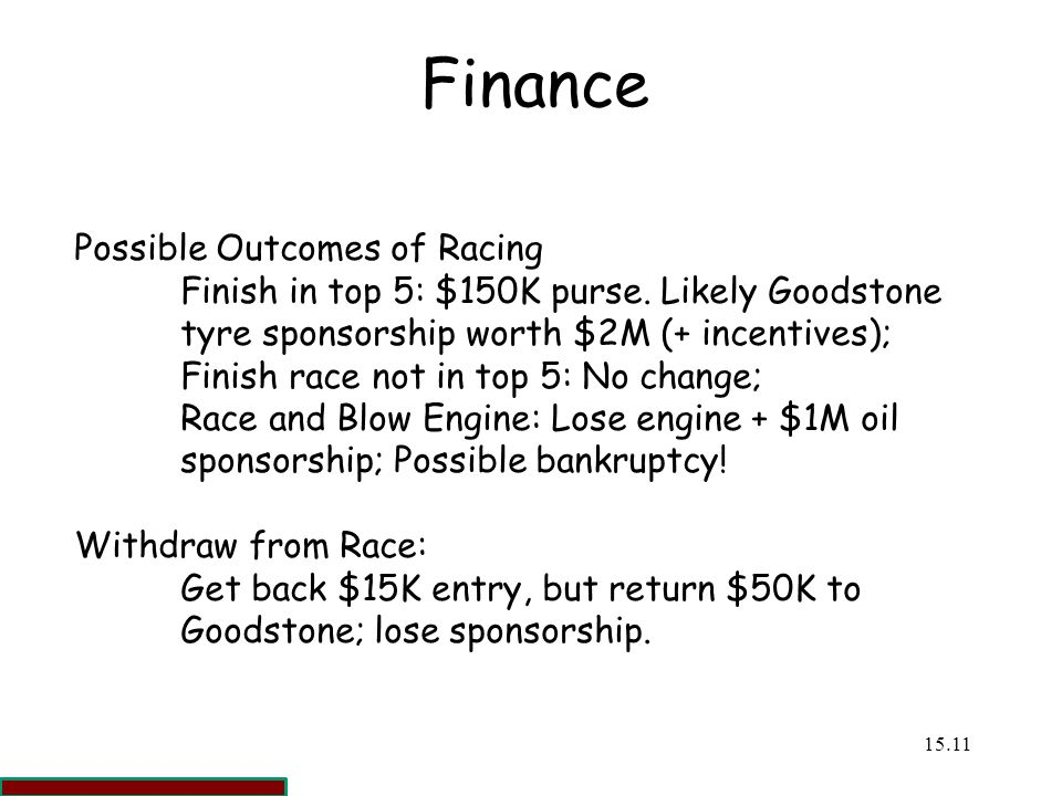 Finance Possible Outcomes of Racing