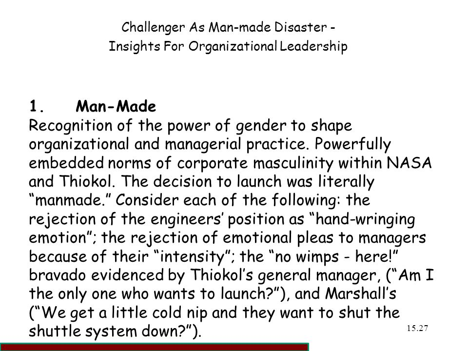 Challenger As Man-made Disaster -