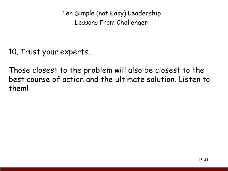 Ten Simple (not Easy) Leadership Lessons From Challenger
