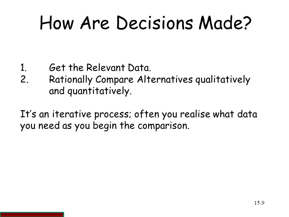 How Are Decisions Made 1. Get the Relevant Data.