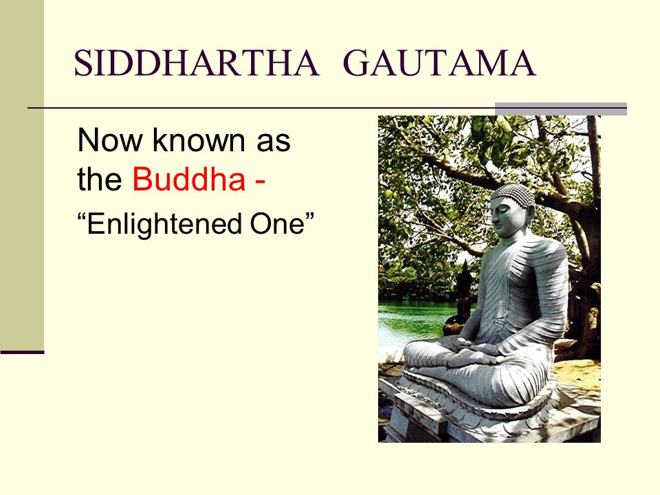 SIDDHARTHA GAUTAMA Now known as the Buddha - Enlightened One