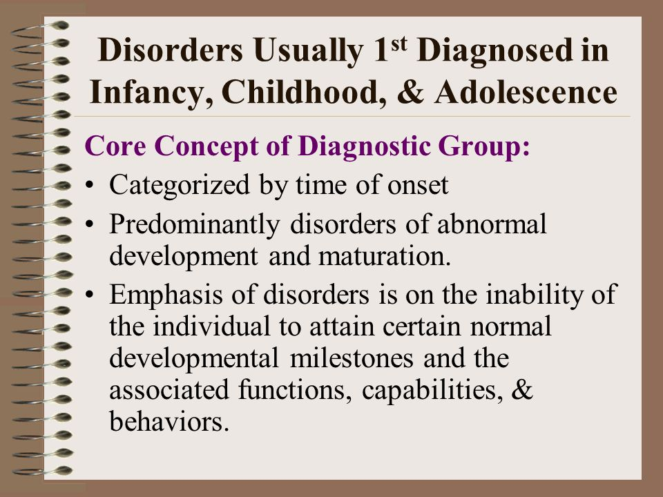 Disorders Usually 1st Diagnosed in Infancy, Childhood, & Adolescence