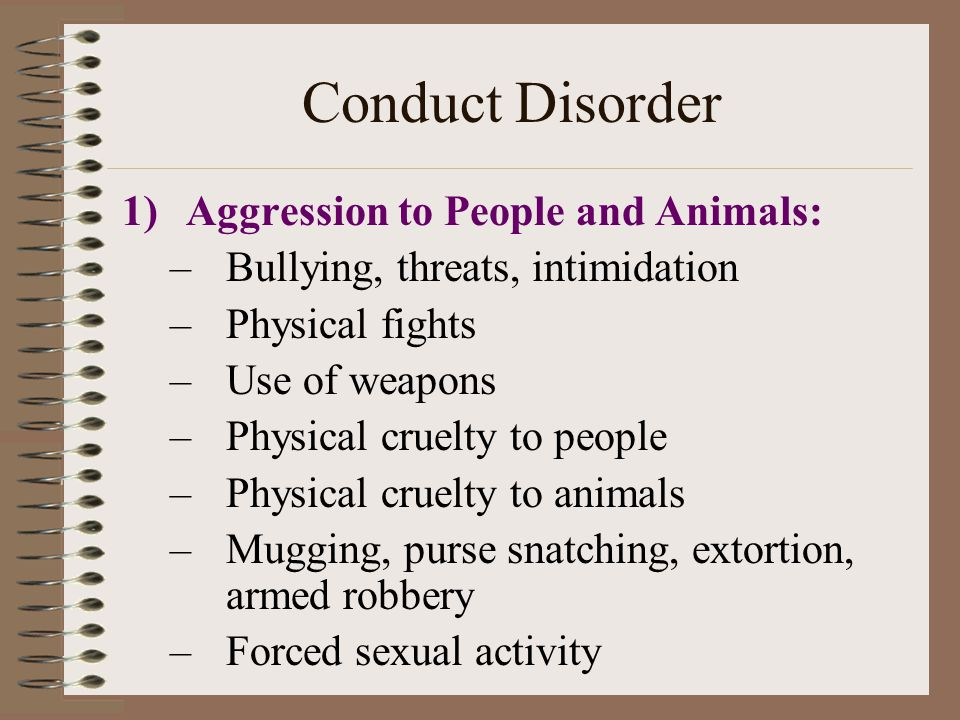 Conduct Disorder Aggression to People and Animals: