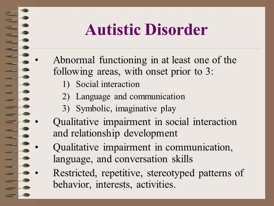 Autistic Disorder Abnormal functioning in at least one of the following areas, with onset prior to 3: