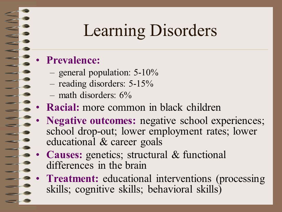 Learning Disorders Prevalence: Racial: more common in black children