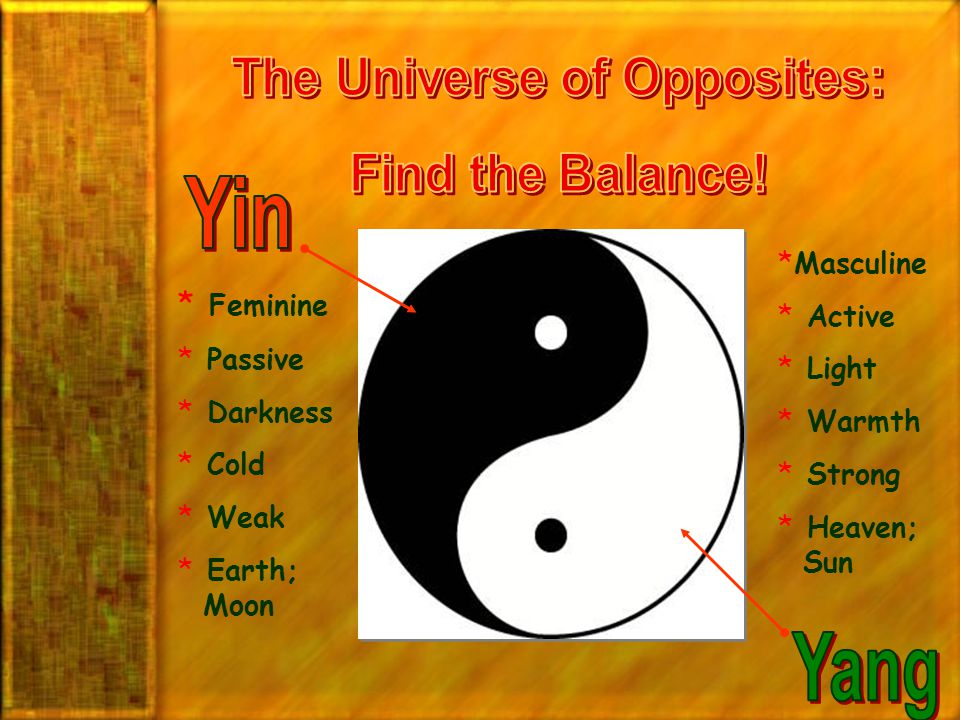 The Universe of Opposites: