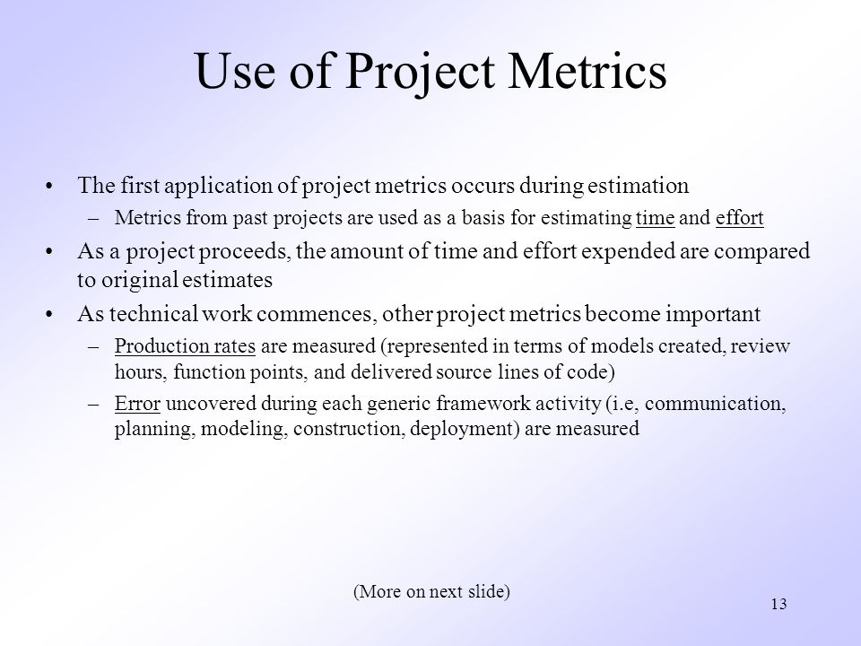 Use of Project Metrics The first application of project metrics occurs during estimation.