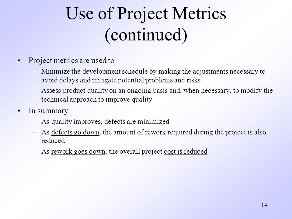 Use of Project Metrics (continued)
