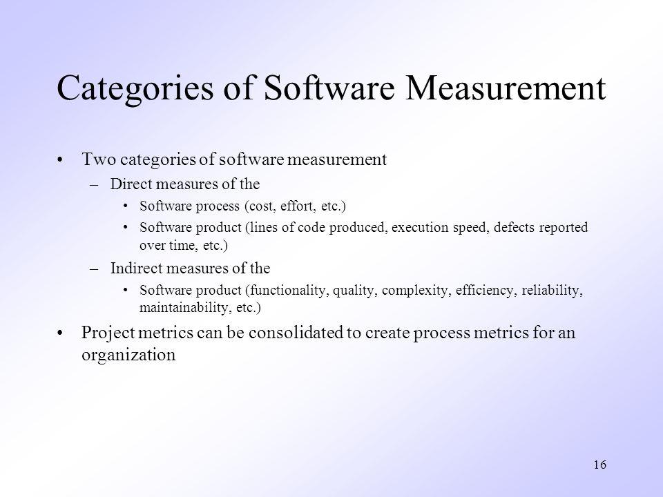 Categories of Software Measurement