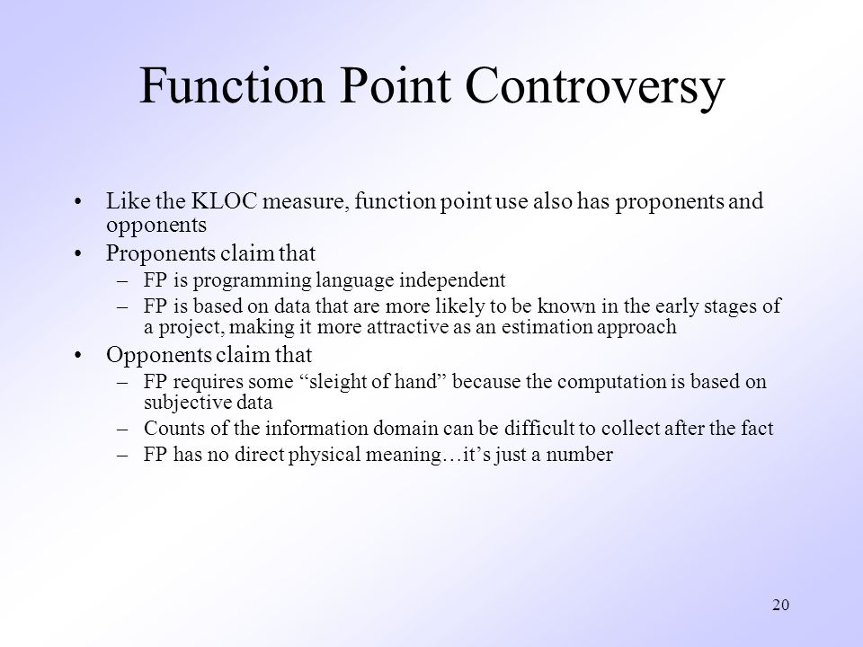 Function Point Controversy