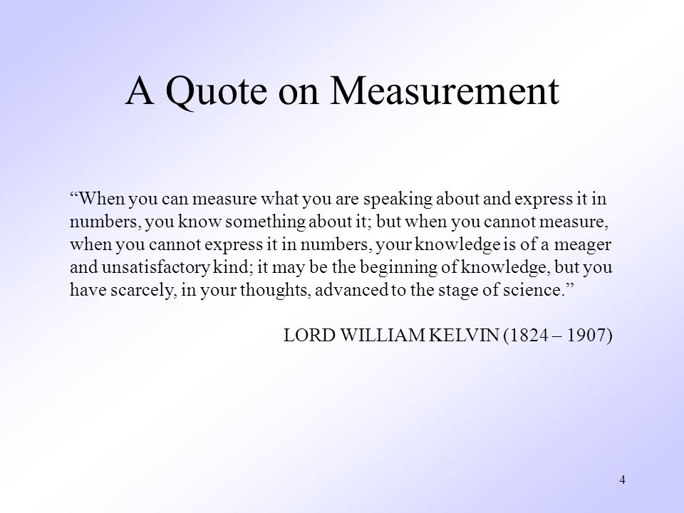 A Quote on Measurement When you can measure what you are speaking about and express it in.