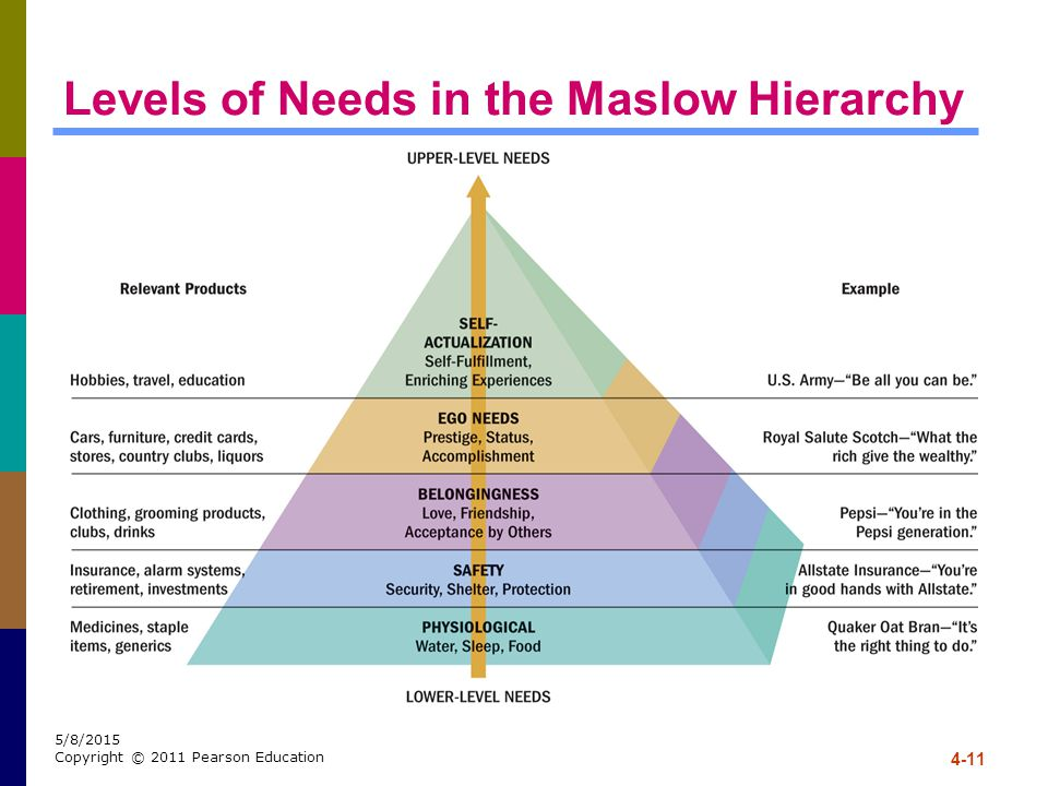 Levels of Needs in the Maslow Hierarchy