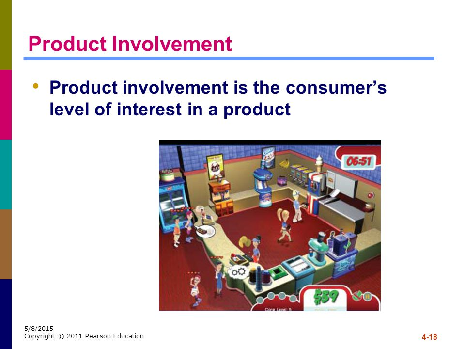 Product Involvement Product involvement is the consumer's level of interest in a product.