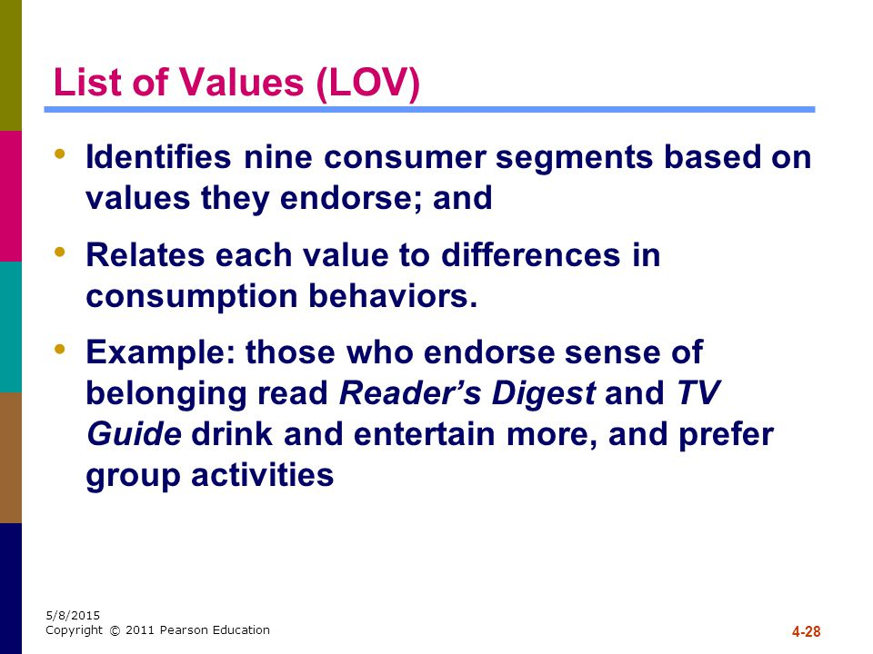 List of Values (LOV) Identifies nine consumer segments based on values they endorse; and.