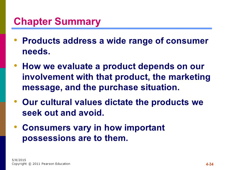 Chapter Summary Products address a wide range of consumer needs.