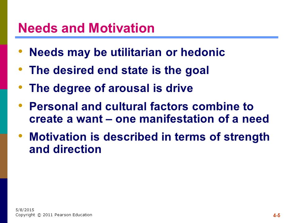Needs and Motivation Needs may be utilitarian or hedonic