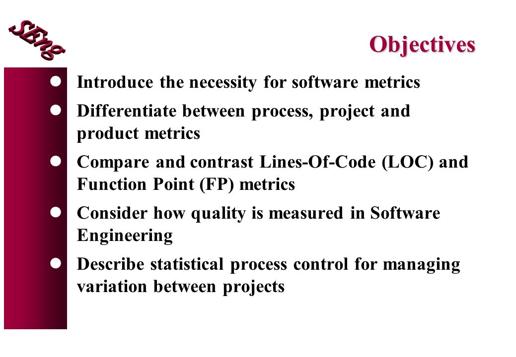 Objectives Introduce the necessity for software metrics