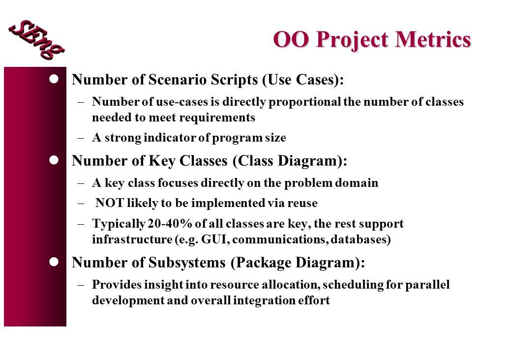 OO Project Metrics Number of Scenario Scripts (Use Cases):