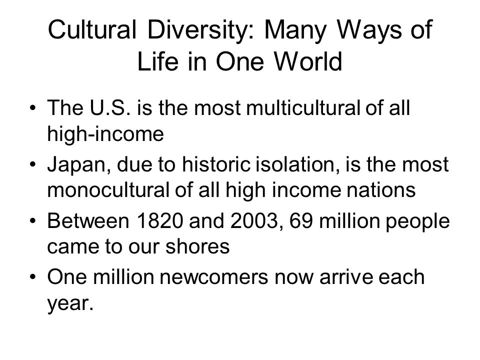 Cultural Diversity: Many Ways of Life in One World