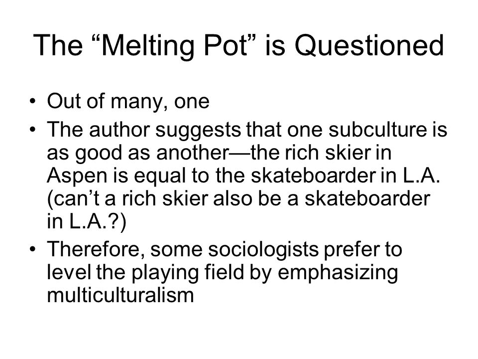 The Melting Pot is Questioned