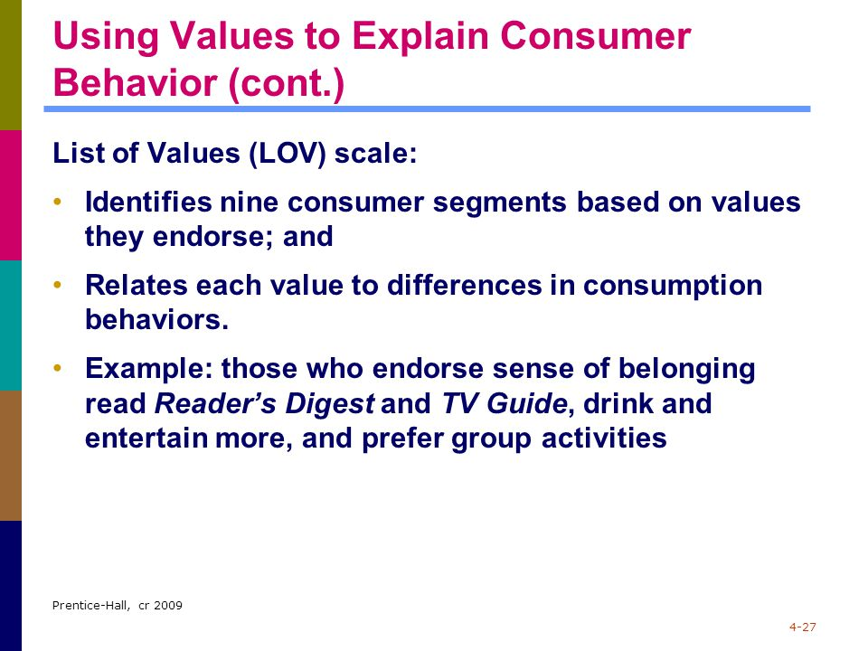 Using Values to Explain Consumer Behavior (cont.)