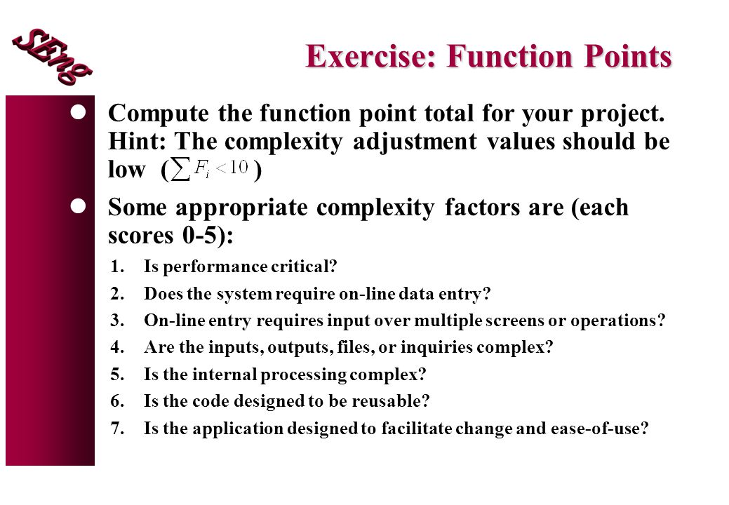 Exercise: Function Points