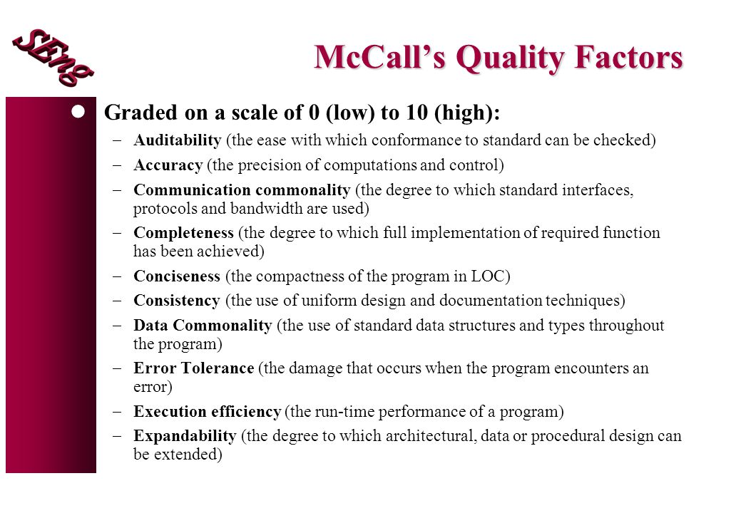McCall's Quality Factors