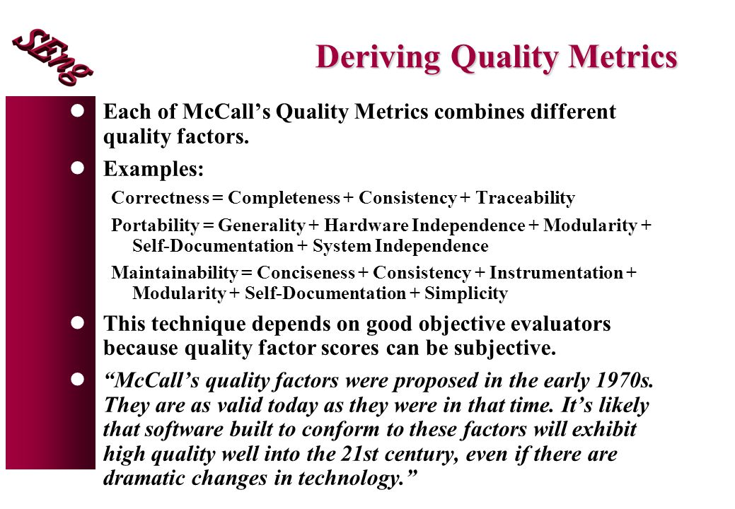 Deriving Quality Metrics