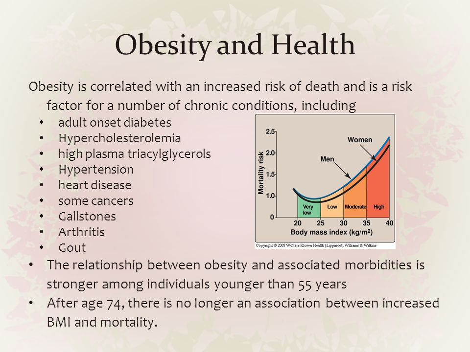 Obesity and Health Obesity is correlated with an increased risk of death and is a risk factor for a number of chronic conditions, including.
