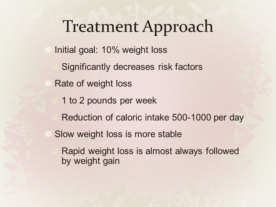 Treatment Approach Initial goal: 10% weight loss