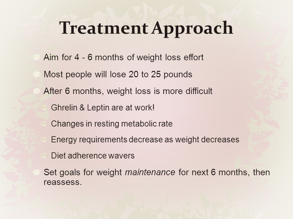Treatment Approach Aim for 4 - 6 months of weight loss effort